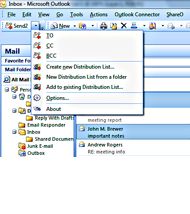 Send2 Microsoft Outlook 2007 Toolbar